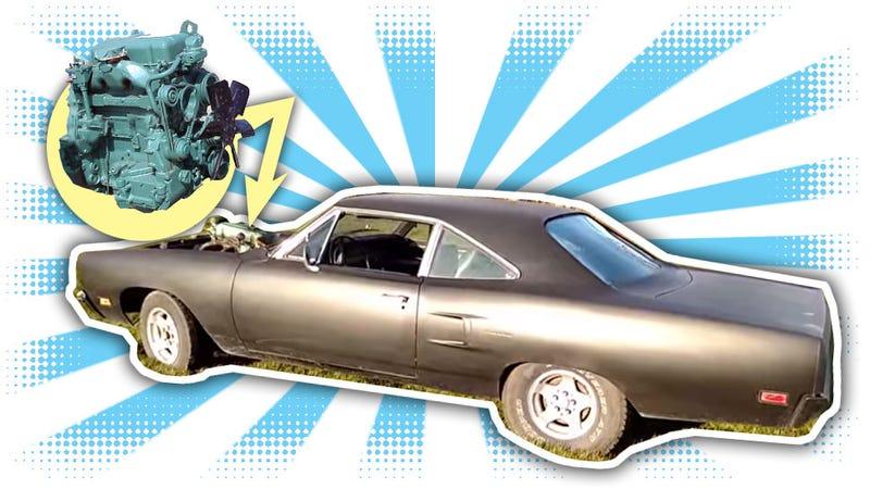 Illustration for article titled Most Backwards Engine Swap Ever Gives Muscle Car 3-Cylinder Diesel