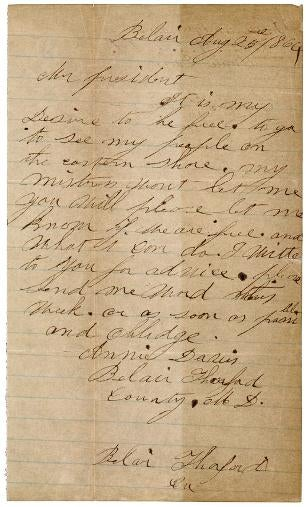 Annie Davis' letter (courtesy of the National Archives)