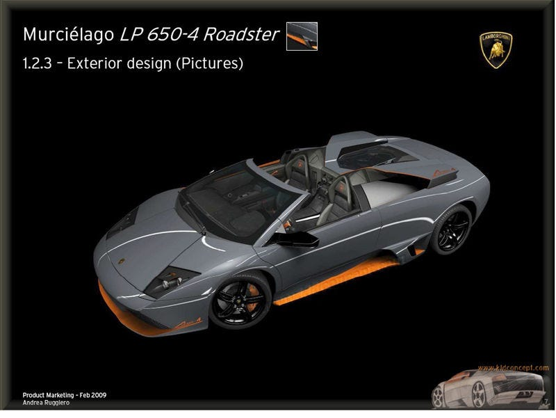 Illustration for article titled Lamborghini Murciélago LP650-4 Roadster: Official Presentation Leaks All The Alcantara-Trimmed Details