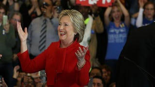 Democratic presidential candidate former Secretary of State Hillary Clinton greets supporters during her caucus night event in the Olmsted Center at Drake University on February 1, 2016 in Des MoinesJustin Sullivan/Getty Images