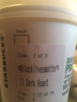 "View of a name change to ""Black lives matter"" on a Starbucks cup as part of a push to raise awarenessFacebook"