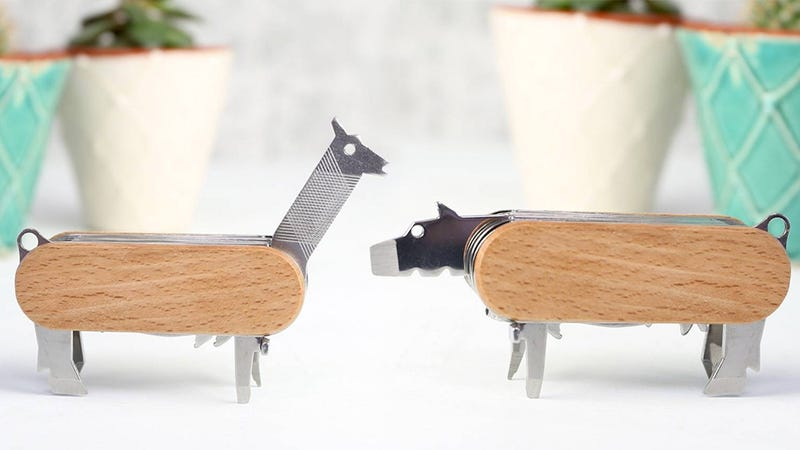 Illustration for article titled This Folding Multitool Has a Zoo Full of Adorable Animals Hidden Inside