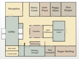 Illustration for article titled Hit the Whiskey Room on the Way to Joan's Office With This Mad Men Floorplan