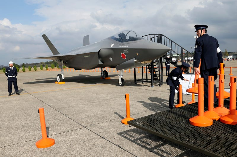 A mockup of a Japanese F-35 at Hyakuri Air Base, Japan, 2014.