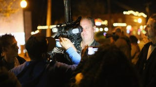Demonstrators speak to a CNN crew outside the Ferguson, Mo., police station on Oct. 22, 2014, in the wake of 18-year-old Michael Brown's death.Scott Olson/Getty Images
