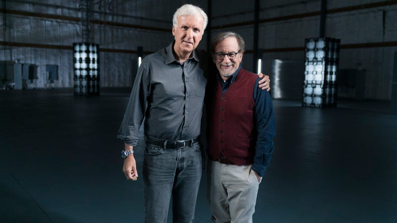 James Cameron and Steven Spielberg hug it out in The Story Of Science Fiction
