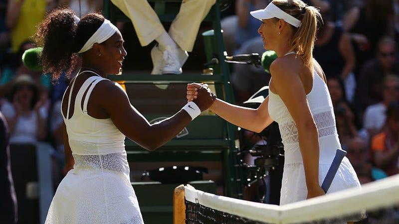 Serena Williams celebrating at the net after beating Maria Sharapova at Wimbledon July 9, 2015