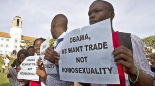 Anti-homosexuality activists march through the streets of the Ugandan capital, Kampala, on March 31, 2014, in support of the government's stance against homosexuality.ISAAC KASAMANI/AFP/Getty Images
