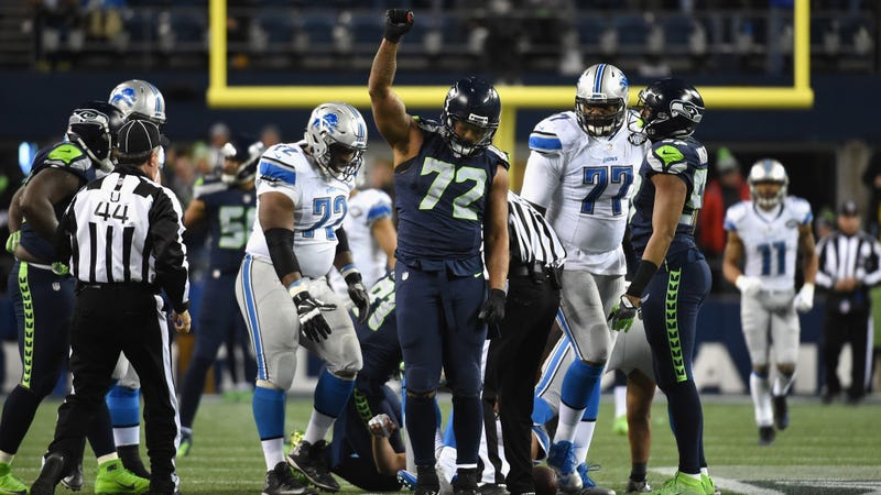 Michael Bennett, No. 72 of the Seattle Seahawks, reacts during the second half of a game against the Detroit Lions at CenturyLink Field in Seattle on Jan. 7, 2017. (Steve Dykes/Getty Images)