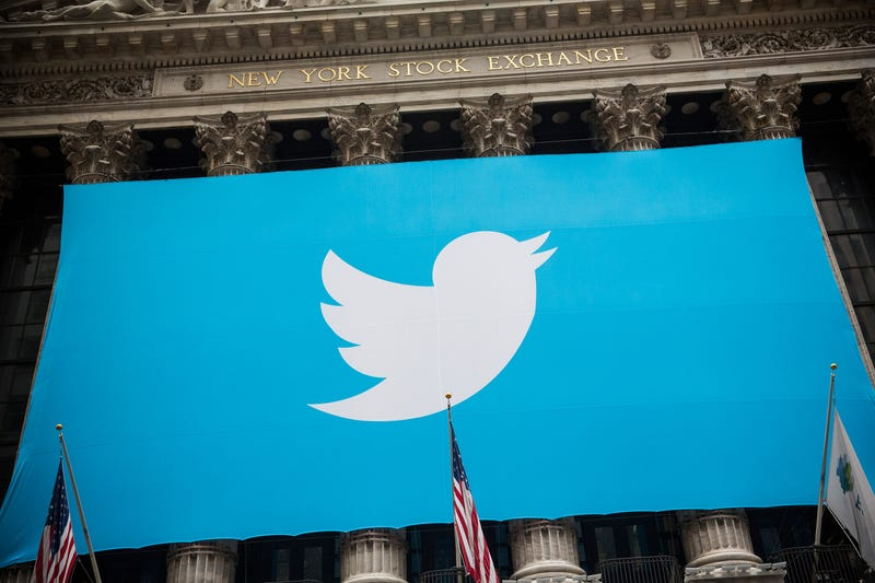 The Twitter logo is displayed on a banner outside the New York Stock Exchange on Nov.7, 2013, in New York City. Andrew Burton/Getty Images