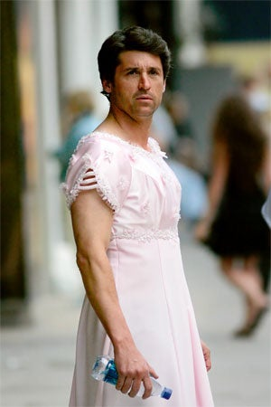 Patrick Dempsey Looks Surprisingly Comfortable In That Pink Wedding