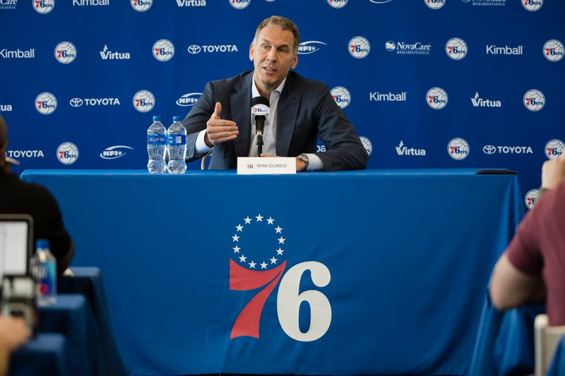 Philadelphia 76ers President of Basketball Operations Bryan Colangelo speaks with members of the media during a news conference at the NBA basketball team's practice facility in Camden, N.J., on May 11, 2018.