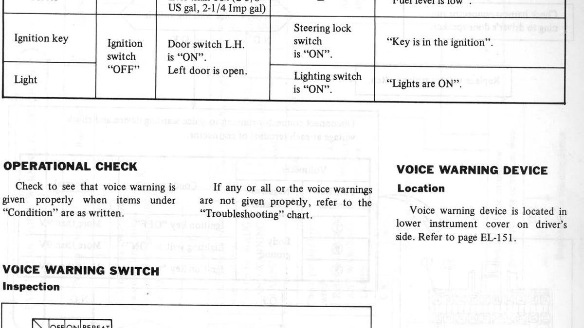 1982 Datsun Voice Warning Box Used Tiny Phonograph Record Just Like Moon Base Robots