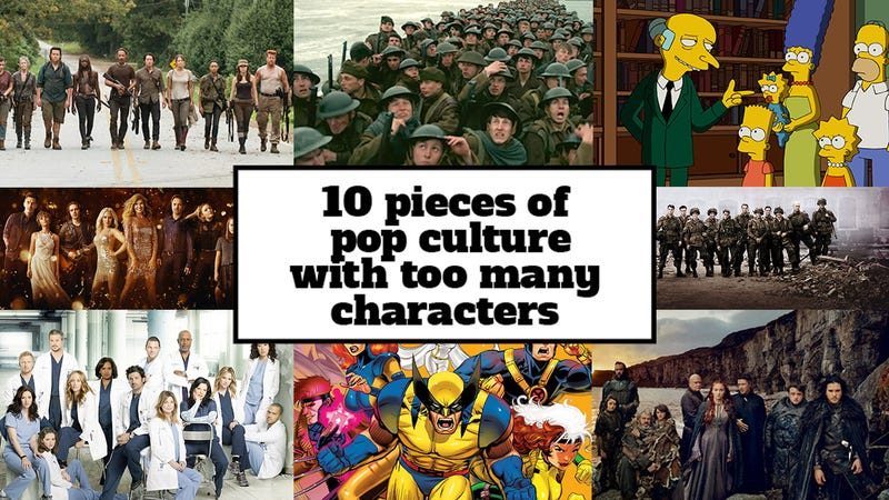 Illustration for article titled 10 pieces of pop culture with too many characters