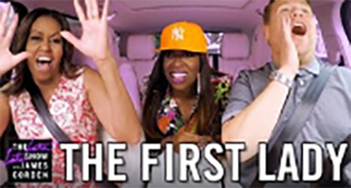 First lady Michelle Obama, Missy Elliott and James CordenYouTube screenshot