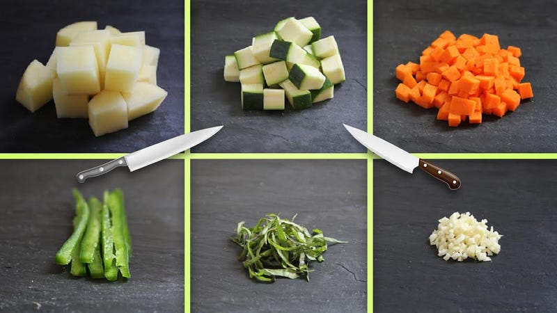 Illustration for article titled Diced, Chopped, Minced, & More: A Visual Guide to Six Basic Knife Cuts