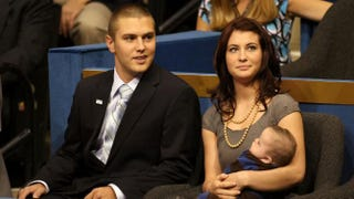 Track Palin sits with sister Willow Palin, who is holding Trig Palin, in 2008Justin Sullivan/Getty Images