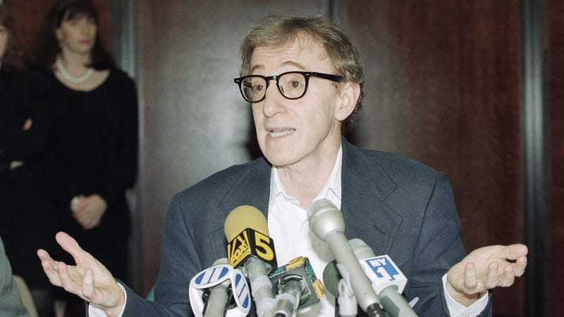 Woody Allen before reporters after his 1993 custody battle. Image via the AP.