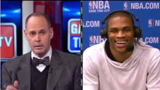 """Illustration for article titled Ernie Johnson Jokingly Asks Westbrook """"How Was The Execution Tonight?"""""""