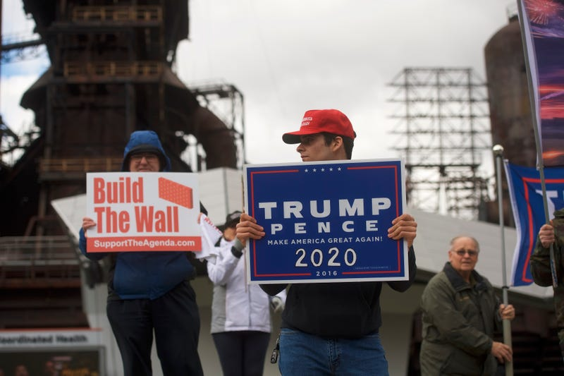 Ross Saveri, 22, joins fellow Donald Trump supporters demonstrating outside of a Fox News Town Hall with Democratic presidential candidate Sen. Bernie Sanders (I-VT) at SteelStacks on April 15, 2019 in Bethlehem, Pennsylvania.