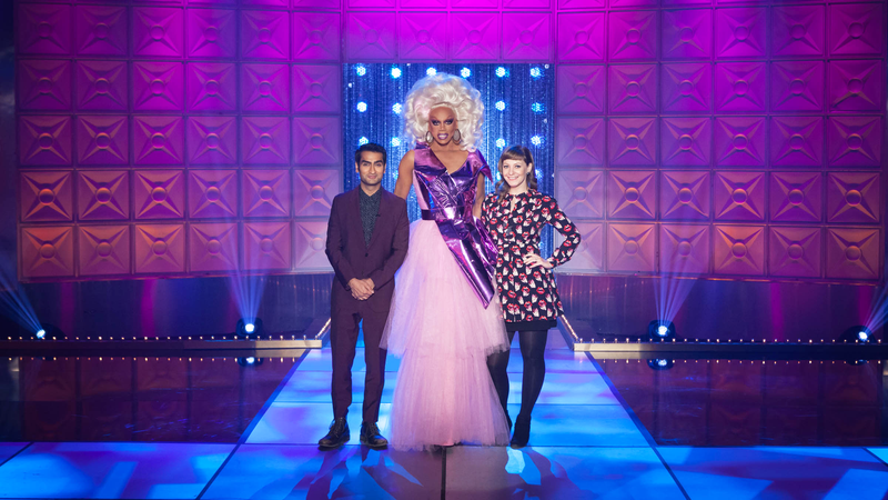 Kumail Nanjiani (left), RuPaul, and Emily V. Gordon
