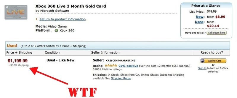 Illustration for article titled Get 3 Months of XBox Live from Amazon for ... $1,200!!!!