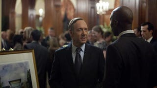 In the Netflix original series House of Cards, Rep. Frank Underwood (left, Kevin Spacey) talks to lobbyist and former staffer Remy Denton (Mahershala Ali).Netflix
