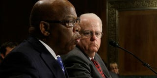 Reps. John Lewis (D-Ga.) and Jim Sensenbrenner (R-Wisc.) testify on the Voting Rights Act. (Win McNamee/Getty Images)