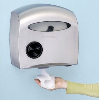 Illustration for article titled Kimberly-Clark First to Elusive Hands-Free Toilet Paper Dispenser Market