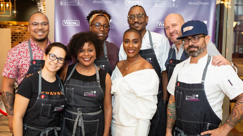 (l-r) Chef Jerome Grant, Pastry Chef Ilma Lopez, Heaven Hills Distillery Brand Educator Lynn House, 2019 James Beard Award nominee Chef Mashama Bailey, Iconoclast Dinner Experience creator and curator Dr. Lezli Levene Harvell, Chef Gregory Gourdet, Viking Brand Ambassador and Middleby Residential Creative Director Chef Jamie Laurita, and Chef Gabriel Hernández Febo pose at the IDE All-Star Culinary Bash on Saturday, May 4 in Chicago, Il.