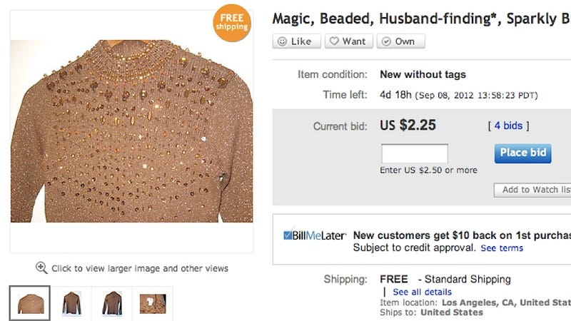 Illustration for article titled Magic 'Husband-Finding' Metal-Shard Sweater Probably Won't Help You Find a Husband