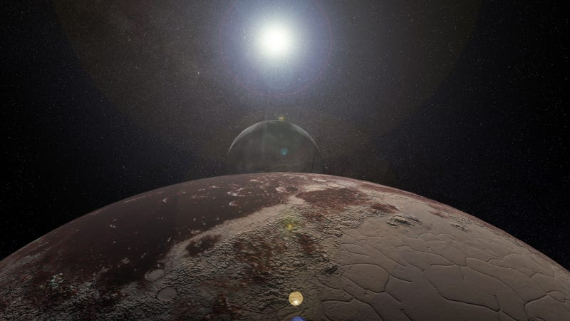 Artist's rendering of the Pluto-Charon dwarf planet system, which is not quite a system where moons have moons.