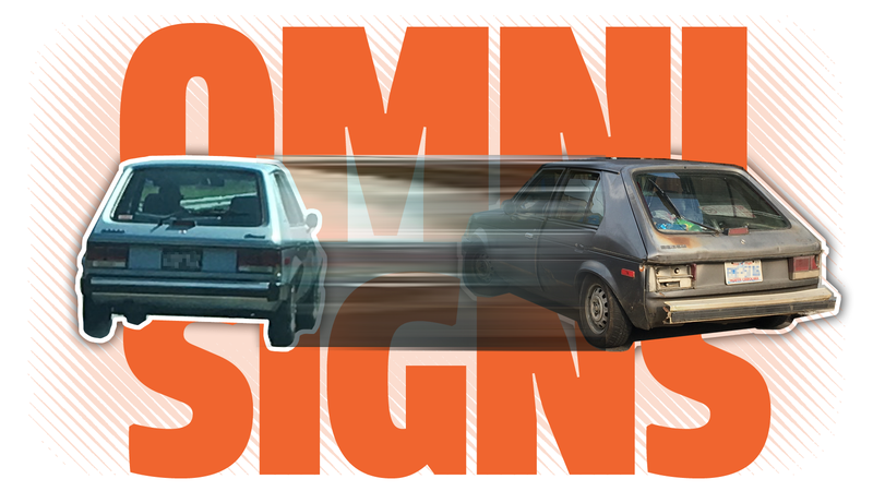 Illustration for article titled Help Me Understand the Mystery of the Sign of the Two Dodge Omnis, Good and Bad