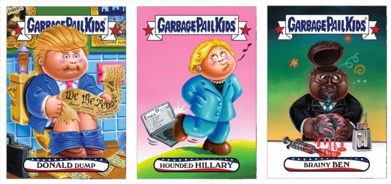 Illustration for article titled You Can Buy These New Iowa Caucus Garbage Pail Kids Cards Featuring Donald Dump and Hounded Hillary