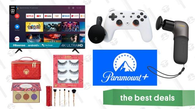 Tuesday s Best Deals: Hisense TVs, Google Stadia Premiere Edition, Naipo Mini Massage Gun, Ulta WandaVision Cosmetics, Paramount+, and More