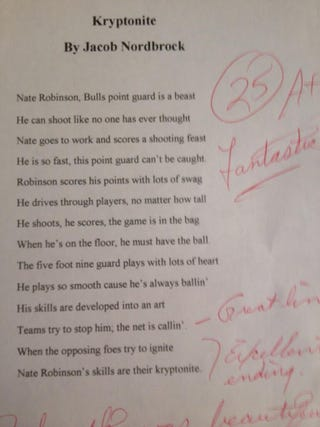 Illustration for article titled This Kid's Poem About Nate Robinson Is Actually Kind of Beautiful