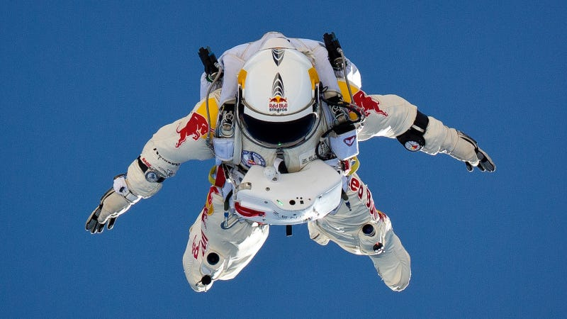 Illustration for article titled Everything You Need To Know About Red Bull's Insane World Record 23-Mile Space Jump
