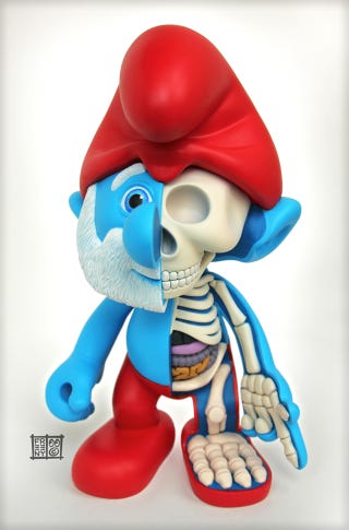 Illustration for article titled Smurfs are even more horrifying on the inside: Papa Smurf Dissected