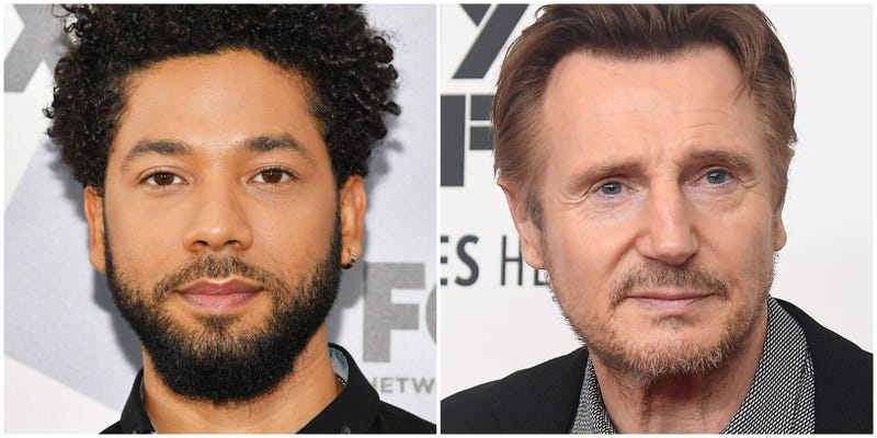 Jussie Smollett attends the 2018 Fox Network Upfront on May 14, 2018 in New York City; Liam Neeson attends the screening of 'The Ballad of Buster Scruggs' during the 56th New York Film Festival on October 4, 2018 in New York City.