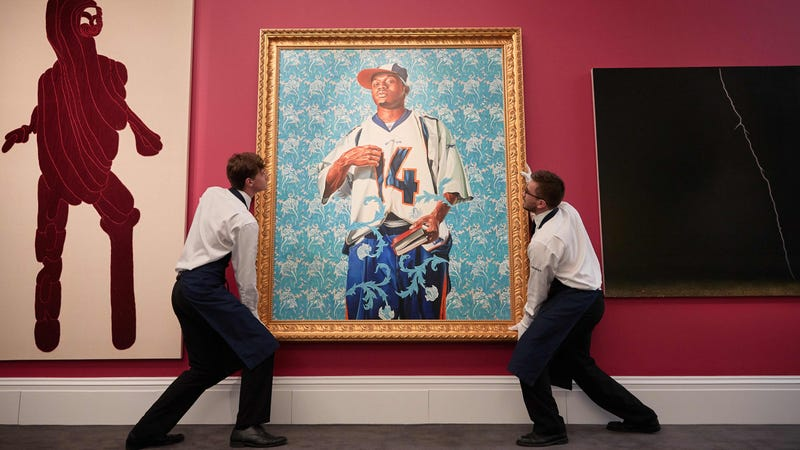 """Kehinde Wiley's """"St.Francis"""" at Sotheby's. Image via the AP."""