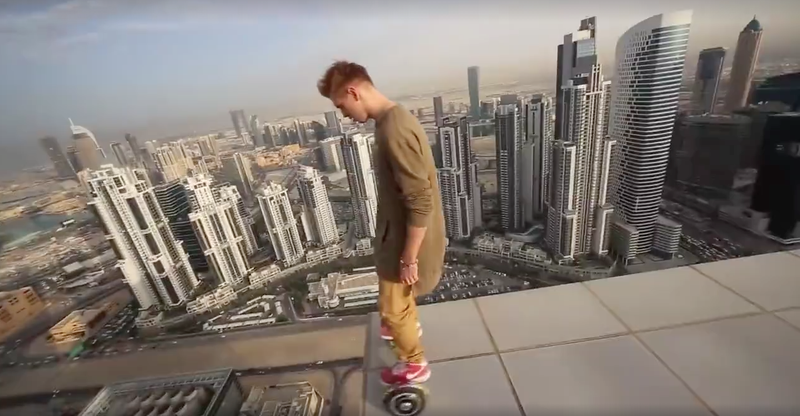 Illustration for article titled Fuck Everything About This Video Of A Dude Hoverboarding Along The Edge Of A Tall Building