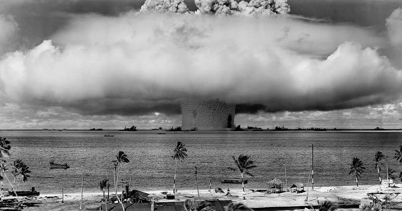 """Baker Shot"", a nuclear test by the United States at Bikini Atoll in 1946. Image: Wikimedia"