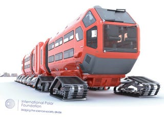 Illustration for article titled Matthiew Tarrit's Polar Vehicle Is Like a Giant Laboratory In a Train Rolling On Skis