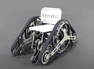Illustration for article titled Stairs Aren't A Problem With Futuristic Tank Tread Wheelchair