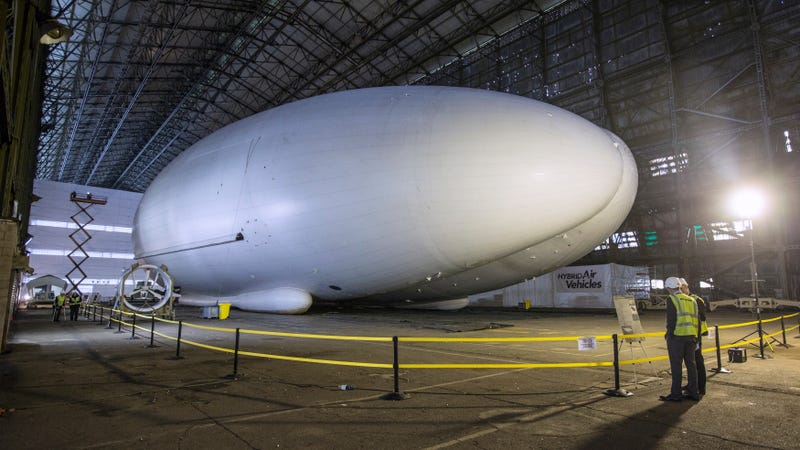 Hybrid Air Vehicle's Airlander aircraft, pictured here in an airship shed in Cardington, England, in 2010.