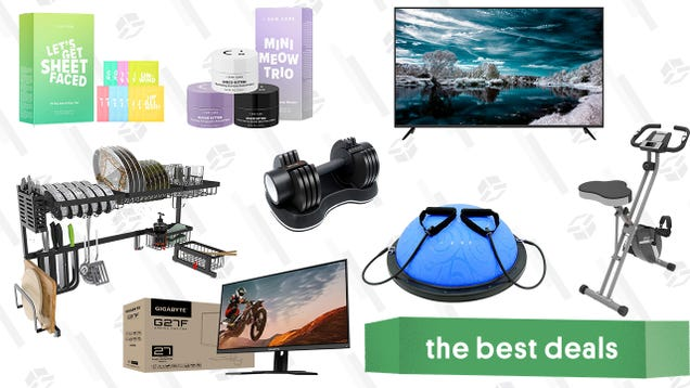 Sunday s Best Deals: Sharp AQUOS 70  Smart TV, Ativafit Exercise Equipment, Gigabyte Gaming Monitor, I Dew Care Facial Mask Sets, Over the Sink Dish Drying Racks, and More