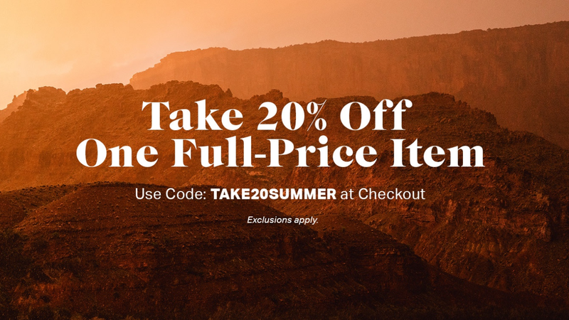 20% Off One Full-Price Item | Backcountry | Promo code TAKE20SUMMER