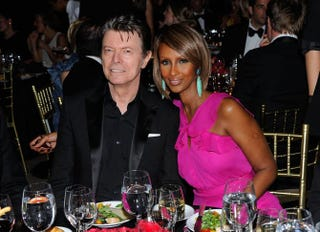 Musician David Bowie and his wife, supermodel Iman, at a charity event in New York City April 28, 2011Andrew H. Walker/Getty Images for DKMS