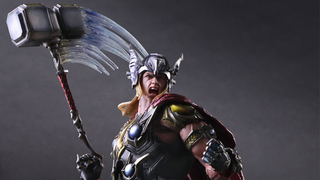 Illustration for article titled Play Arts Kai's Thor Comes With A Wonderfully Swoosh-y Hammer