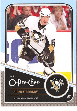 Illustration for article titled Pat Sajak Somehow Ended Up On A Sidney Crosby Hockey Card